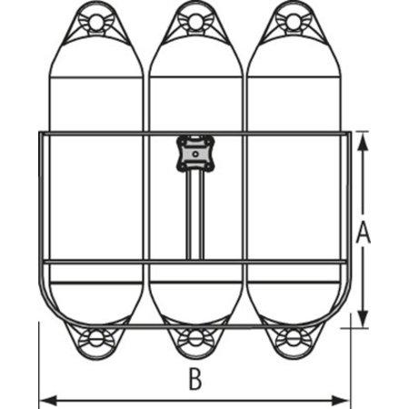 Fenderhouder voor 3 fenders 150 mm