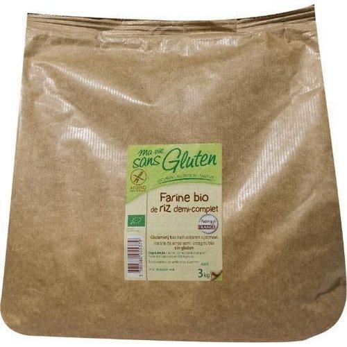 Ma Vie Sans Gluten Halfvolkoren Rijstmeel 3kg Biologisch