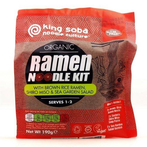 King Soba Ramen Noodle Kit Bruine Rijst, Shiro Miso en Zeesla Biologisch