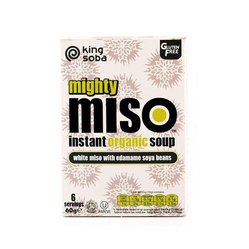 King Soba Instant Miso Soep Witte Miso met Edamame Biologisch