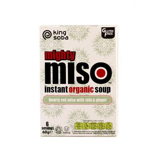 King Soba Instant Miso Soep Rode Miso met Tofu en Gember Biologisch