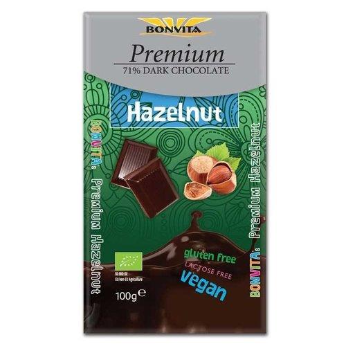 Bonvita 71%  Pure Chocolade met Hazelnoten Biologisch