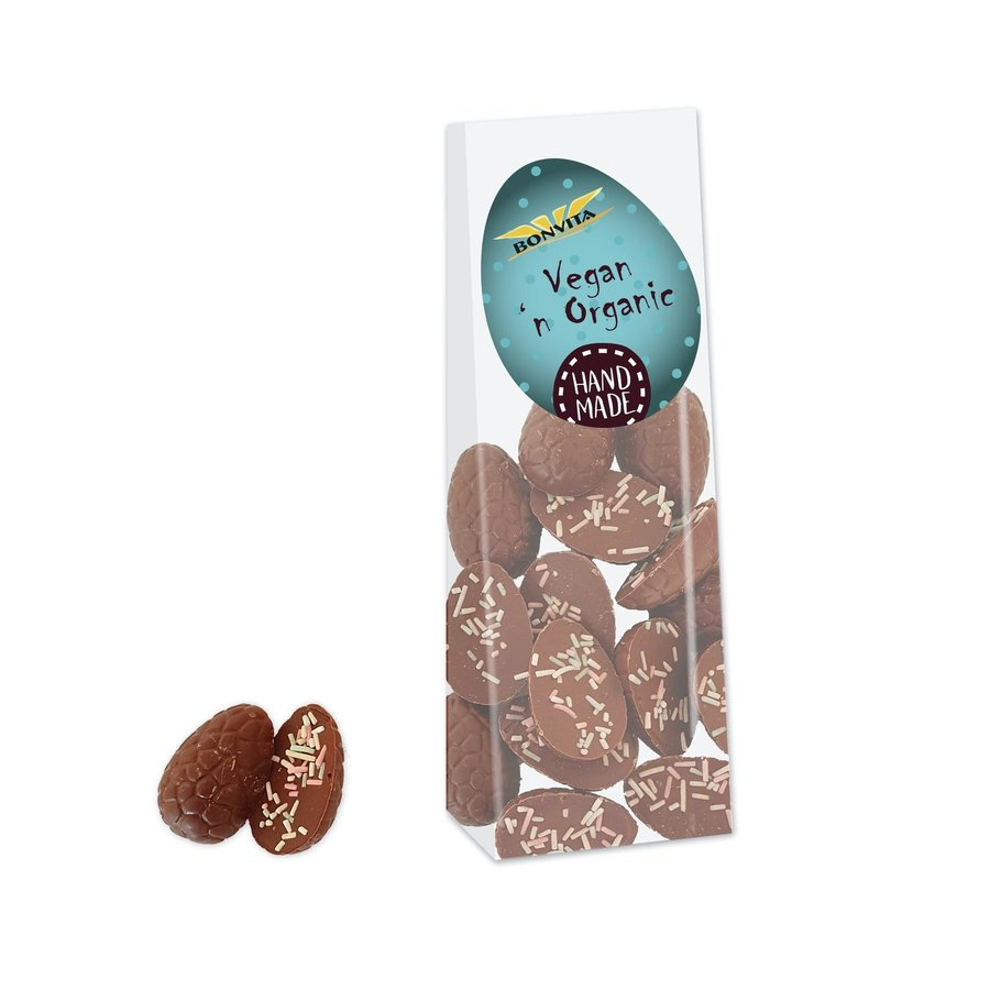 Chocolade Paaseitjes Met Gekleurde Decoratie Biologisch