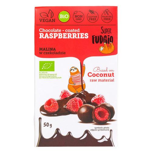 Super Fudgio Chocolade bedekte frambozen biologisch