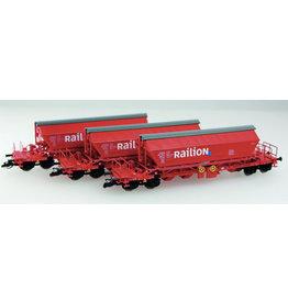 KUEHN MODELL Kuehn set van 3 Kaliwagens Taoos 9331 | DB Railion | Rood