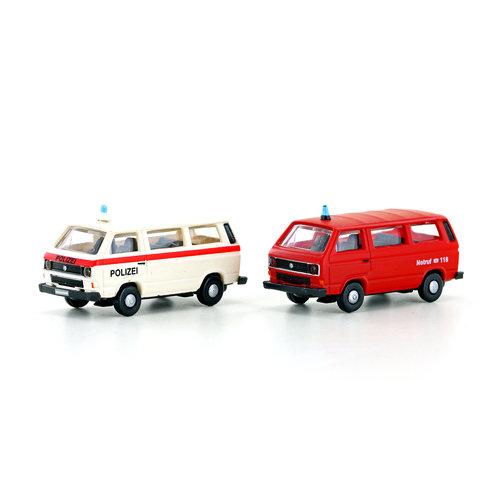 MINIS 2tlg. Set VW T3 POLIZEI Feuerwehr CH