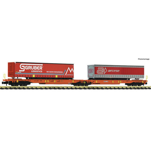 FLEISCHMANN 825016 Gelede dubbele Vrachtwagentrailerwagon, Wascosa (N )