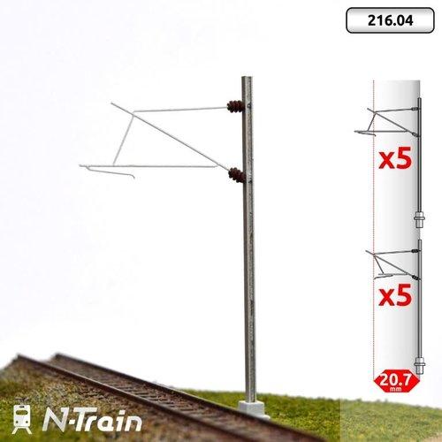 N-Train SNCF - H-profile mast with 25kV bracket - M (10 pieces) (216.04)