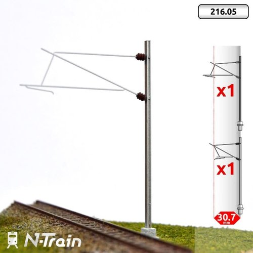N-Train SNCF - H-profile mast with 25kV bracket - L1 (2 pieces) (216.05)