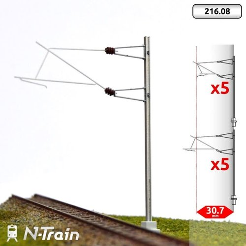 N-Train SNCF - H-profile mast with 25kV bracket - L2 (10 pieces) (216.08)