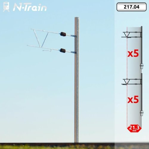 N-Train BLS - H-profile mast with old bracket (10 pieces) (217.04)