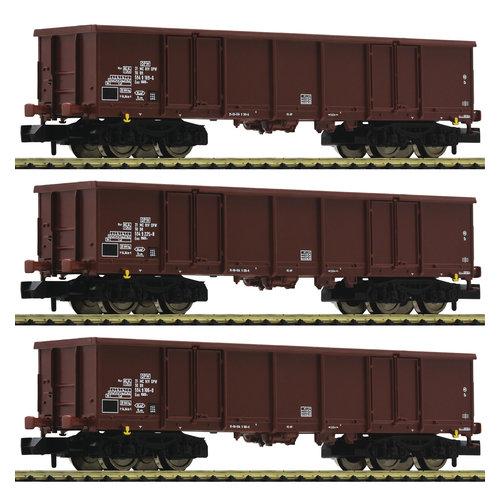 FLEISCHMANN 828347 3-delige set open goederenwagons, DR (N )