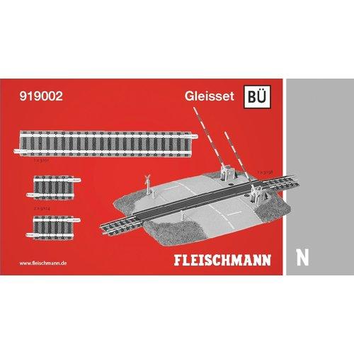 FLEISCHMANN 919002 railuitbreidingsset BÜ, met bewaakte overweg (N PROFI)