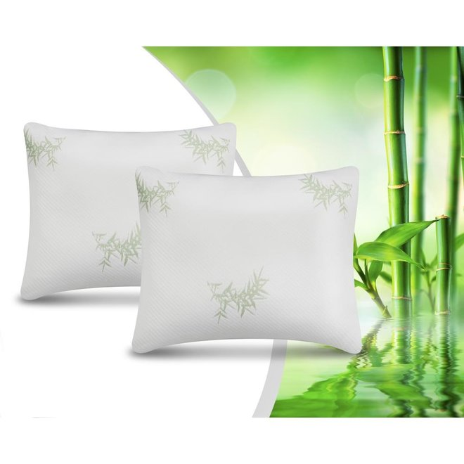 2Pack Bamboo Memory Foam Pillow Wit