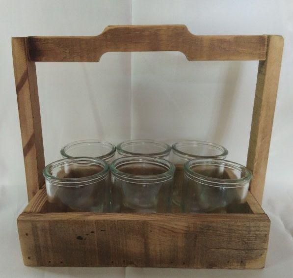 houten rekje met 6 x waxine houder