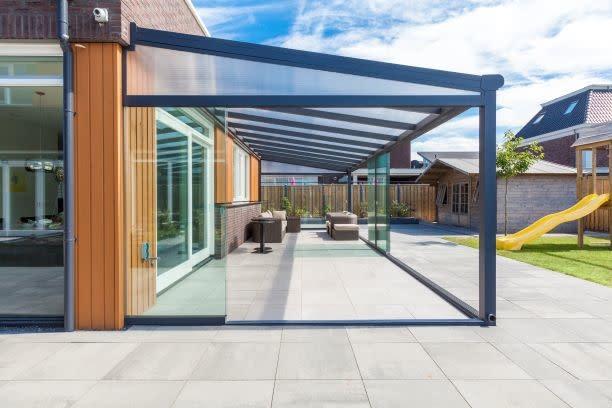 Glasschuif zijwand + poly spie incl. montage  3500mm / 4 x 980