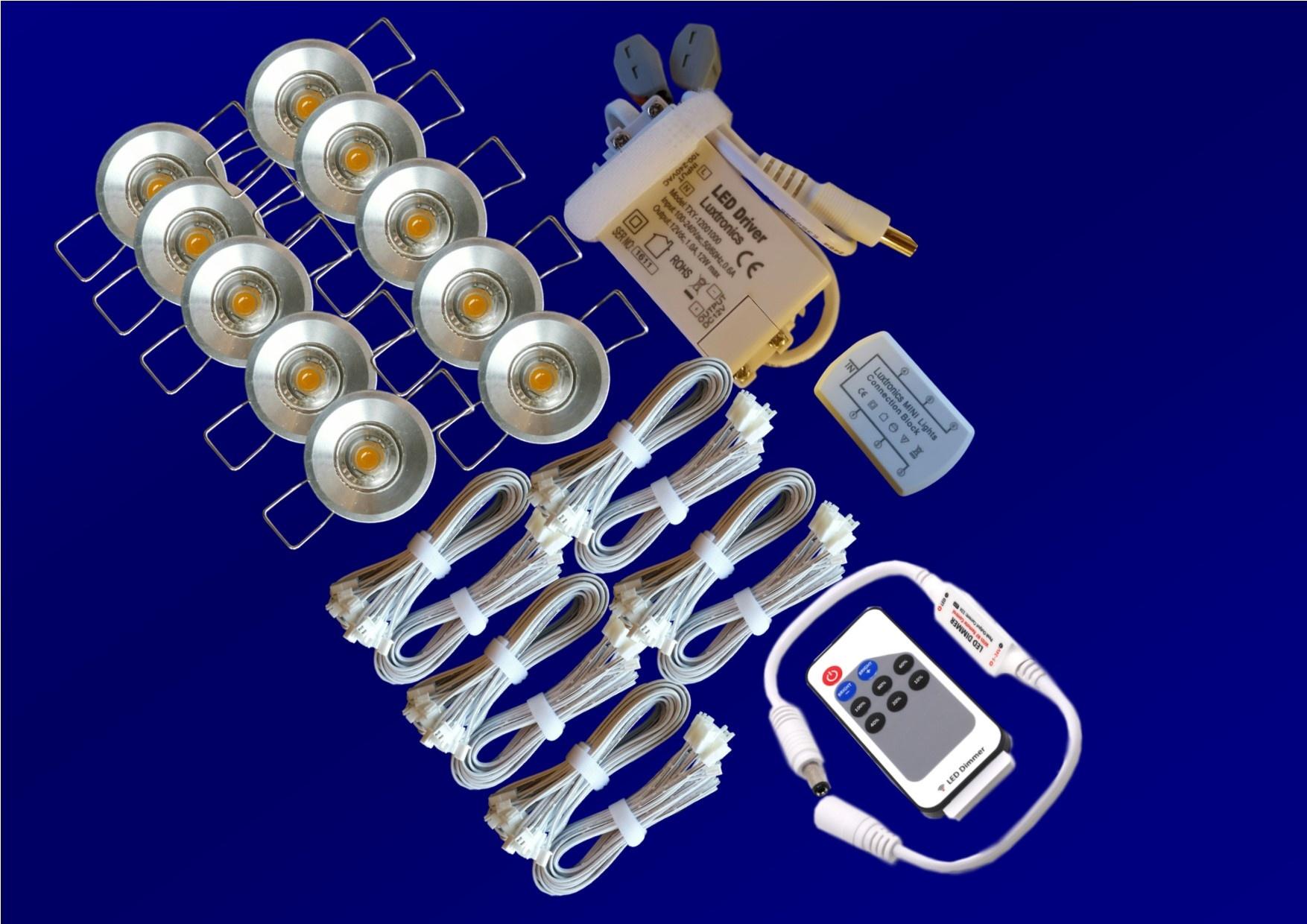 LED set 8 x 1w spots  incl. dimmer