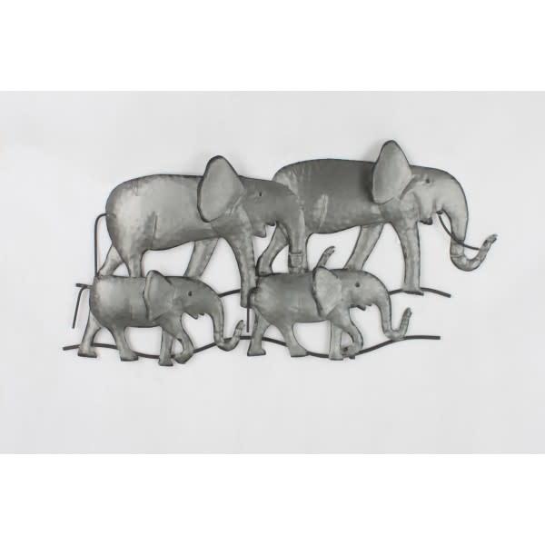 Wand decoratie olifanten licht grijs