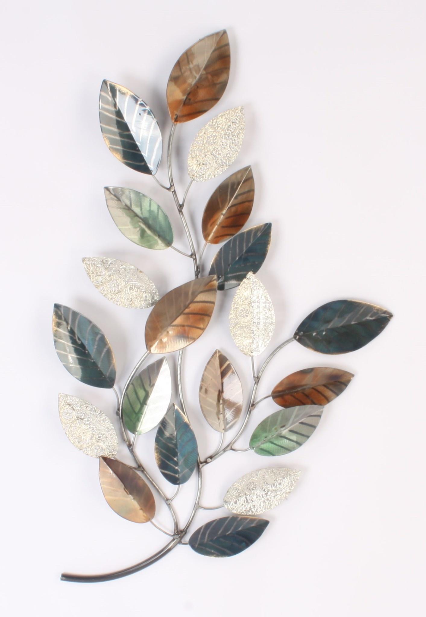 Wand decoratie metaal tak met blad