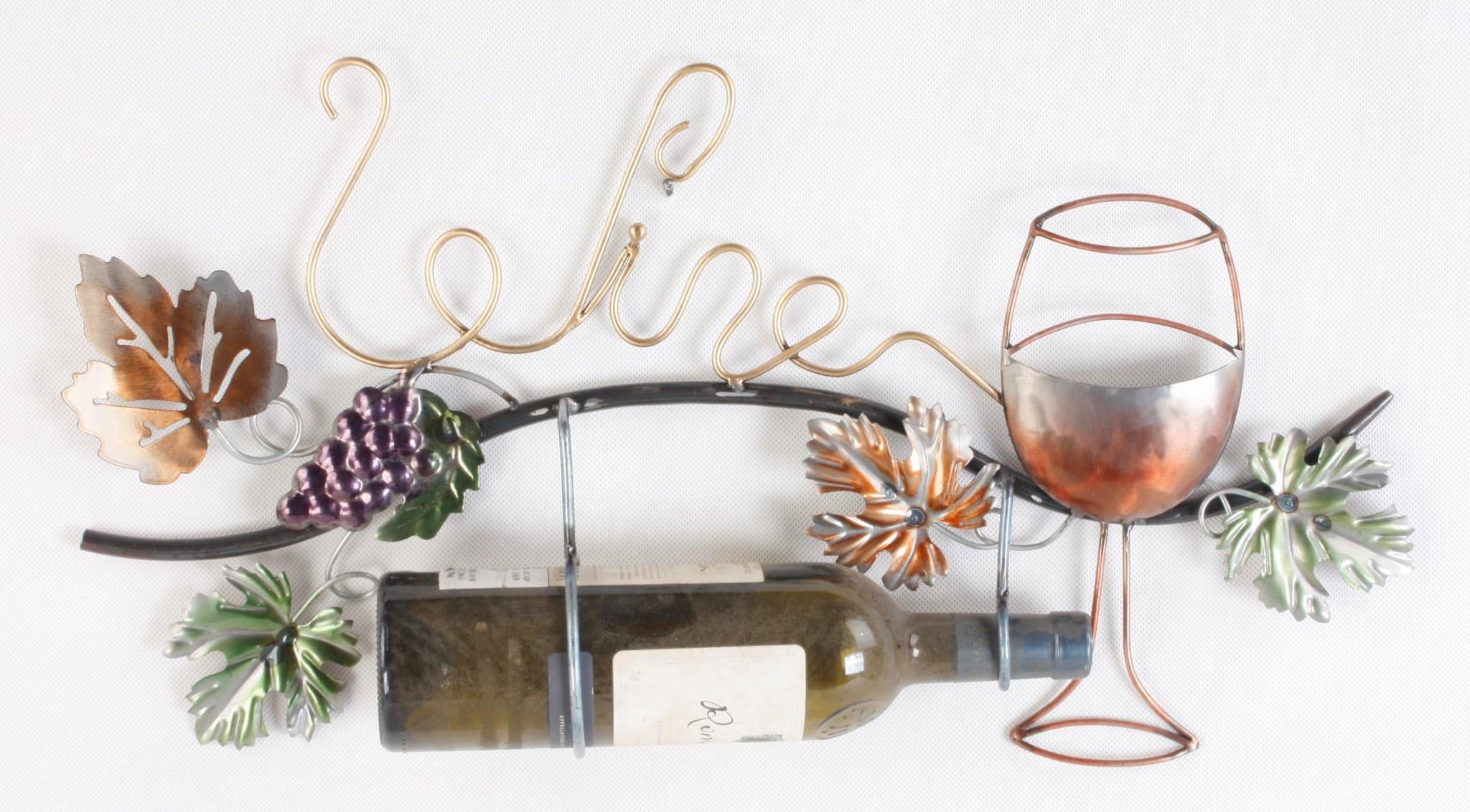 Wanddecoratie wijnrank met fleshouder