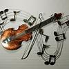 Wanddecoratie viool op notenbalk