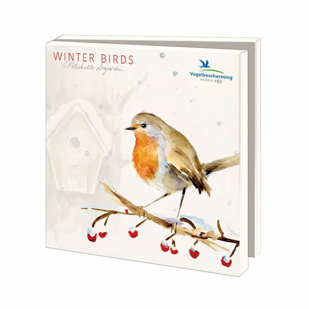 Winter Wensenkaarten met vogel illustraties