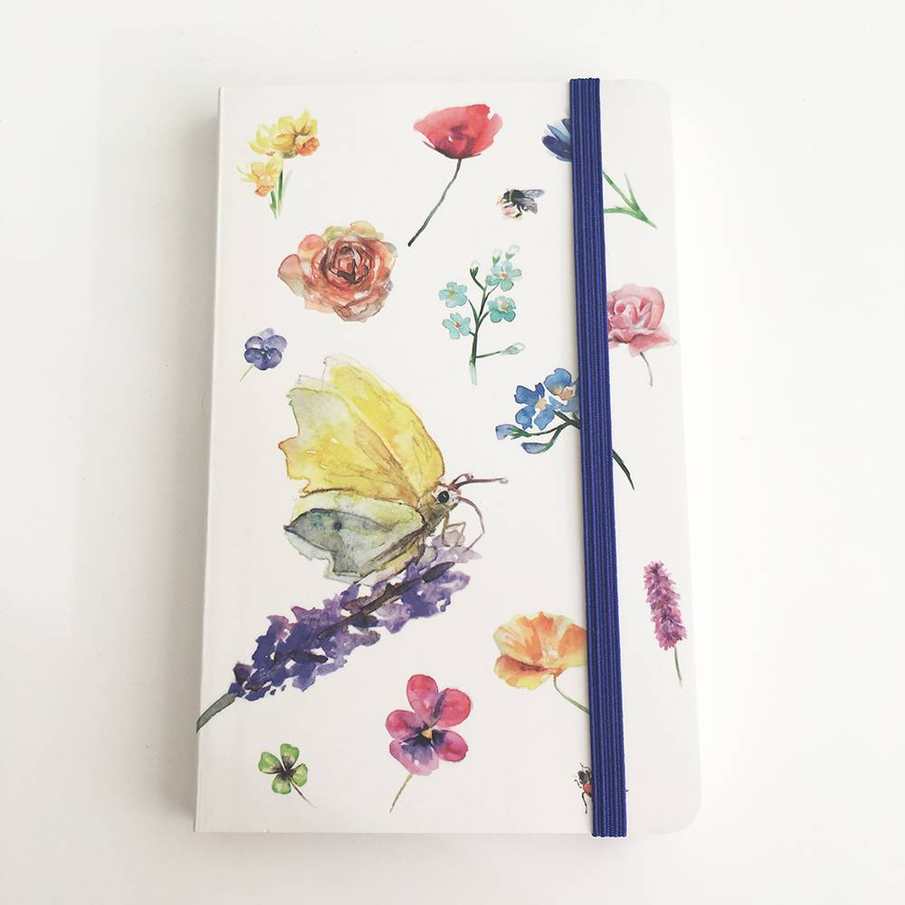Softcover notebook A6 with illustrations of butterflies and flowers