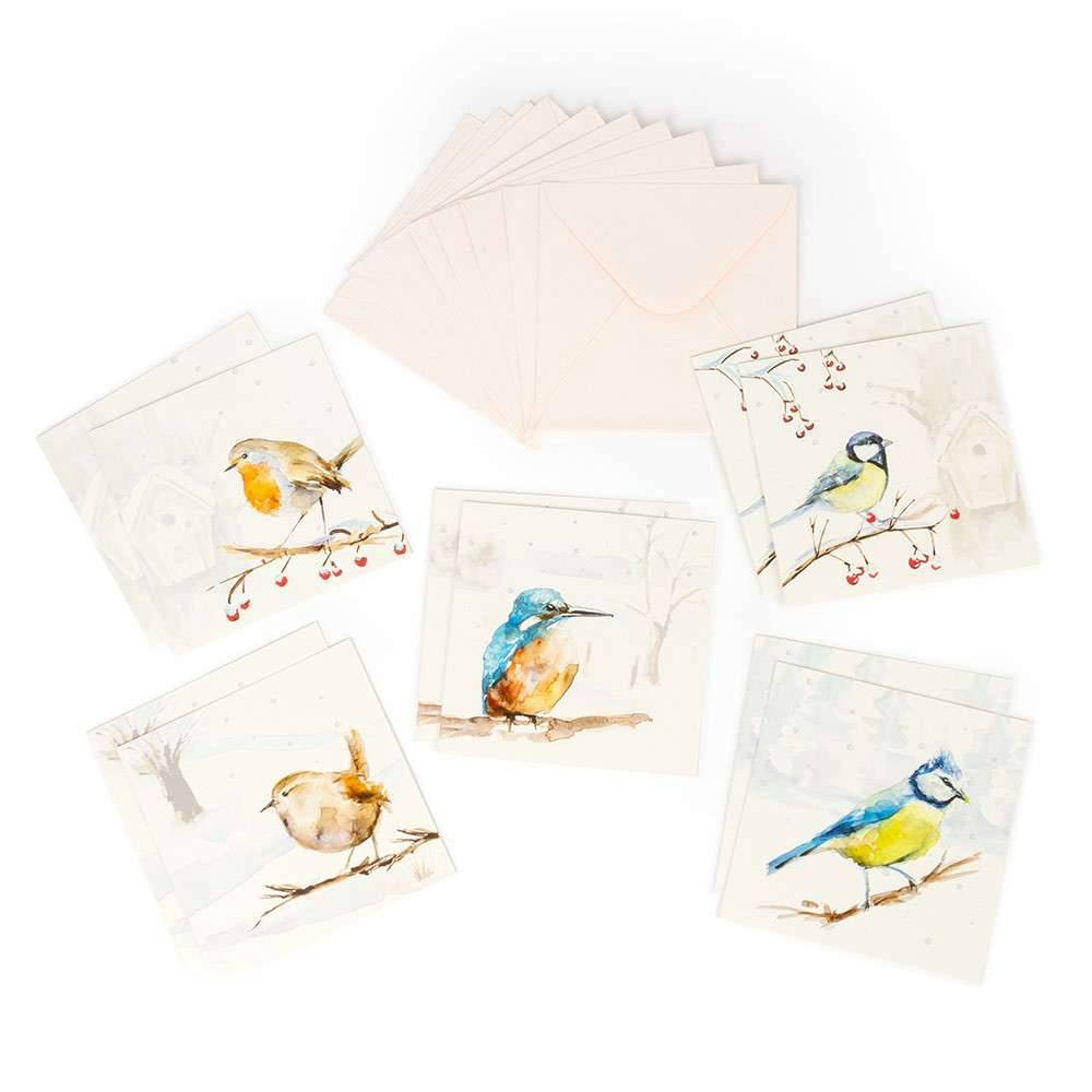 Greeting cards of illustrated Dutch birds in winter