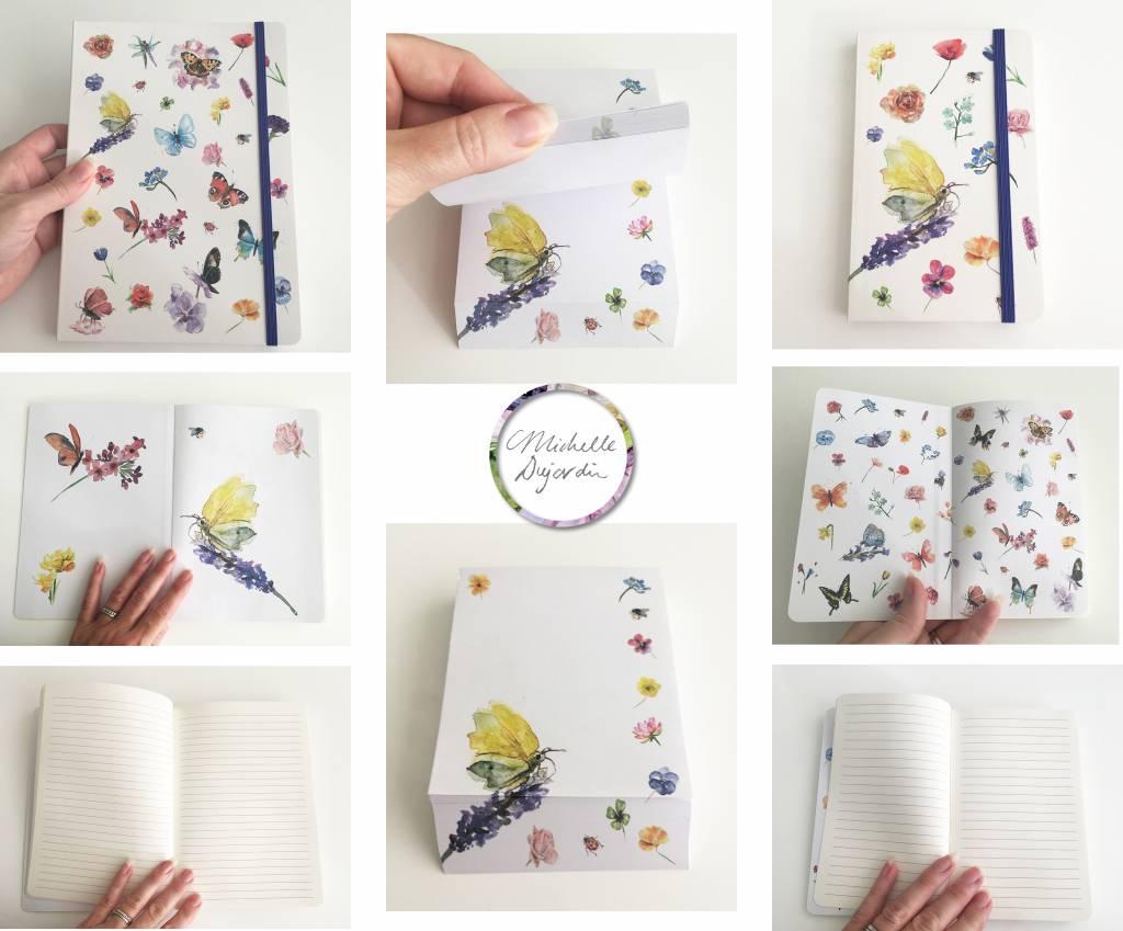 Notitieboek A5 met vlinders en bloemen illustraties