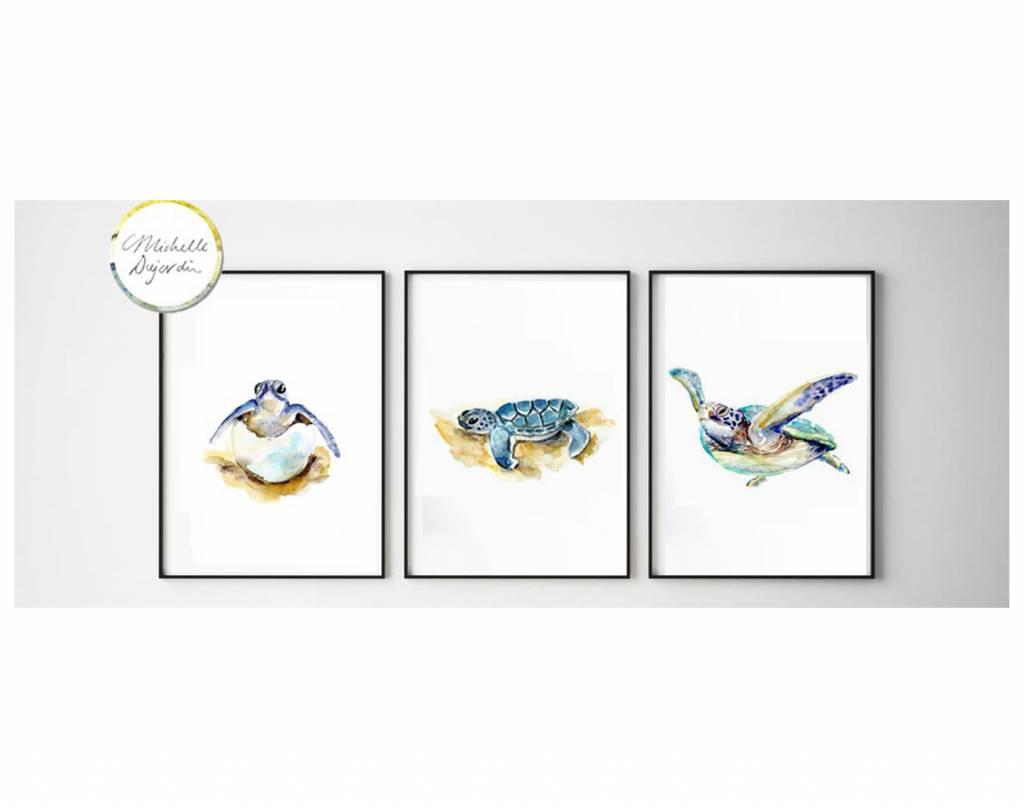 3 prints van Zeeschildpad aquarel schilderijen