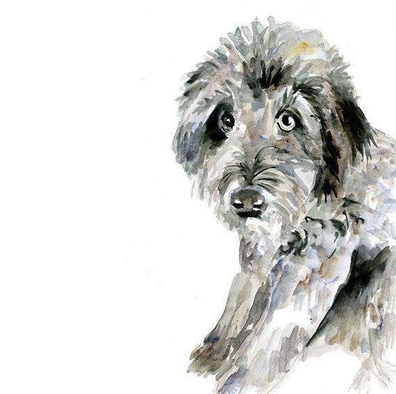Aquarel van een hond in opdracht
