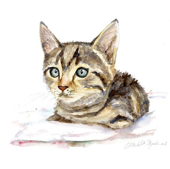 Aquarel van een kat of poes in opdracht