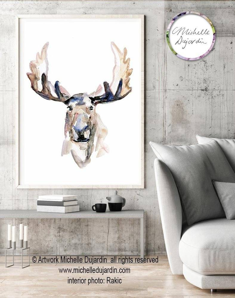 Moose watercolor painting Fine Art Print