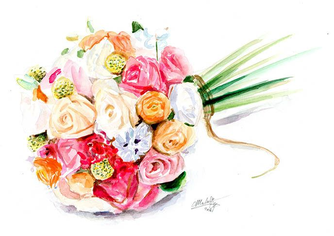 Commissioned (wedding) bouquet painted in watercolor