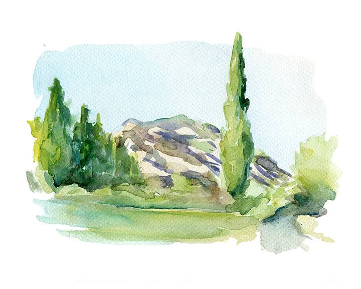 Commissioned landscape painting in watercolor