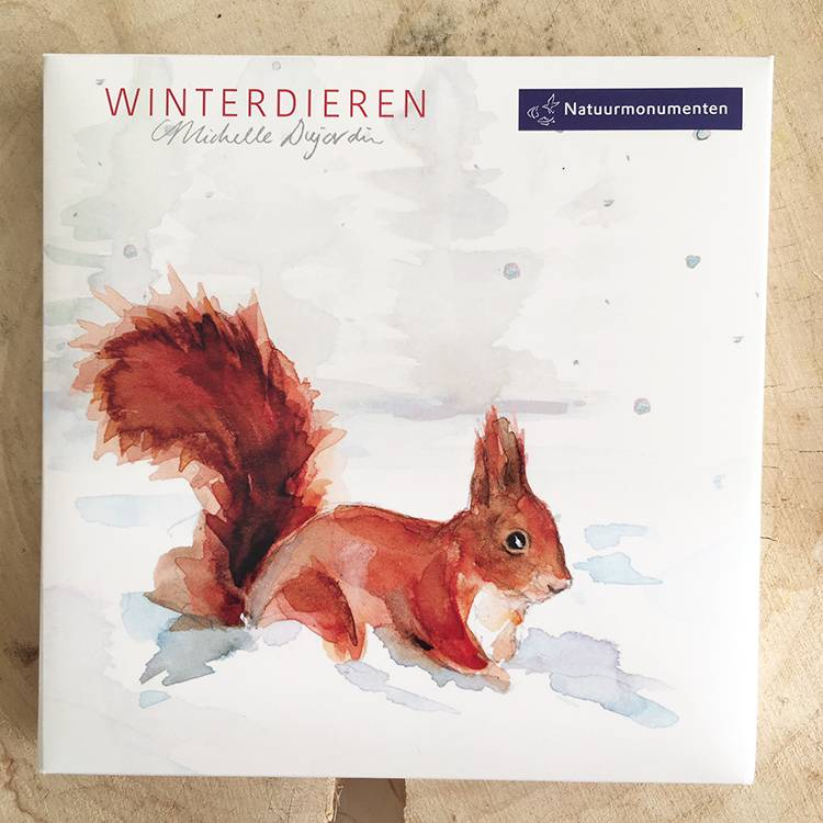 Illustrated greeting cards of Dutch animals in winter