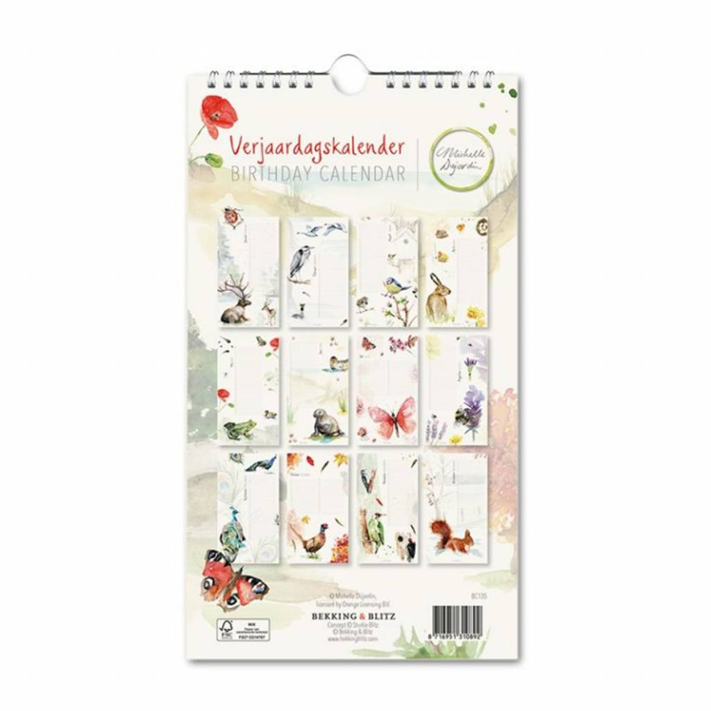 Colorful birthday calender with illustrations by Michelle Dujardin
