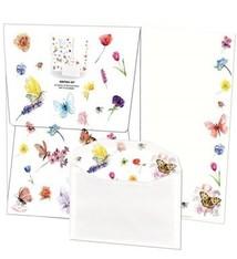 Briefpapier met vlinders en bloemen