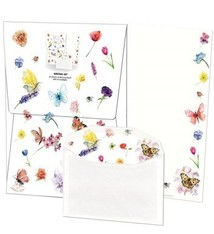 Writing set with butterflies and flowers