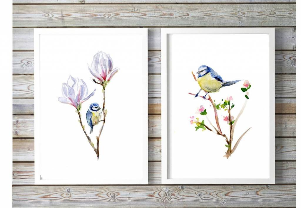 Set of 2 blue tit watercolor paintings