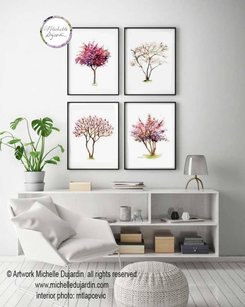 Set van 4 boom aquarel schilderijen