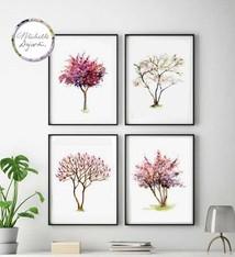 Set van 4 bomen prints