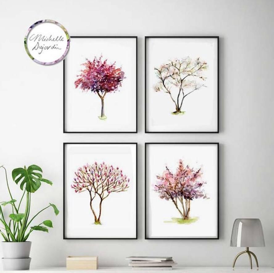 Set of 4 tree watercolor paintings
