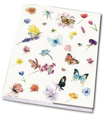 Exercise book with butterflies and flowers