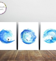 Set of 3 wave surf prints