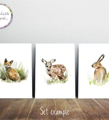 Fox hare and deer set