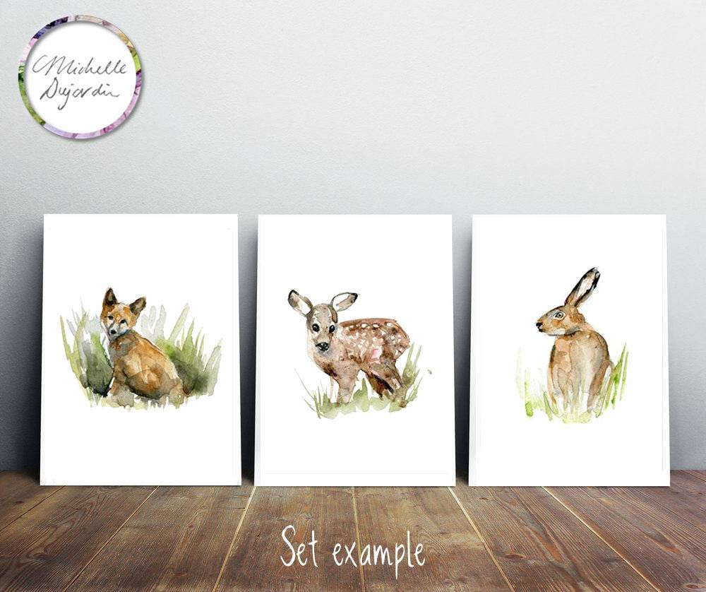 3 prints of young fox, hare and fawn watercolor