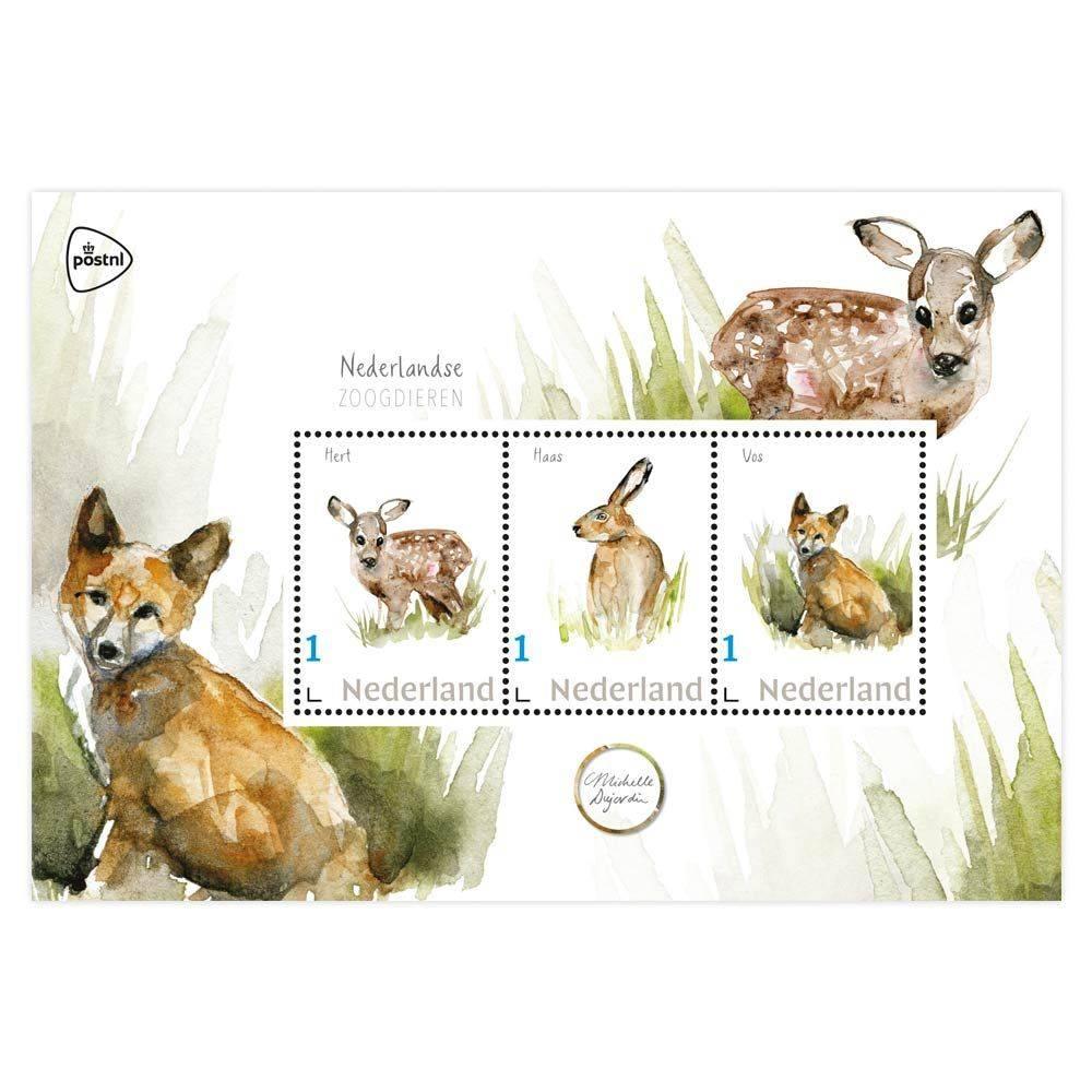 3 prints van vos, hert en haas gebruikt voor Post NL postzegels