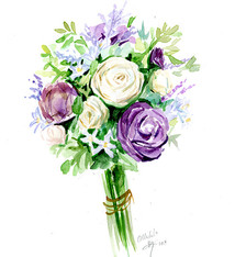 Floral bouquet watercolor painting