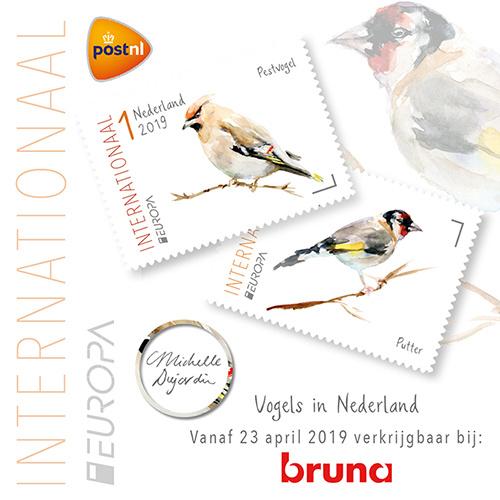 Internationale postzegels met vogels uit op 23 april